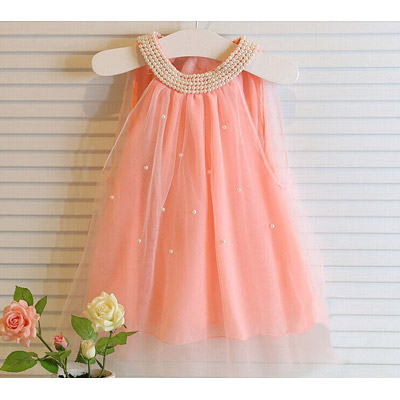 Baby Girls' Sleeveless Dress w/ Lace & Faux Pearl White/Pink
