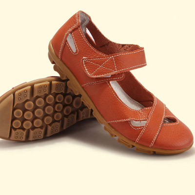 Women's Causal Flat Shoes w/ Round Toe Genuine Leather